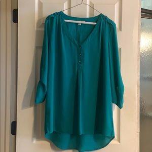Teal 3/4 length sleeve blouse